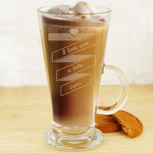Heart Banner Latte Glass